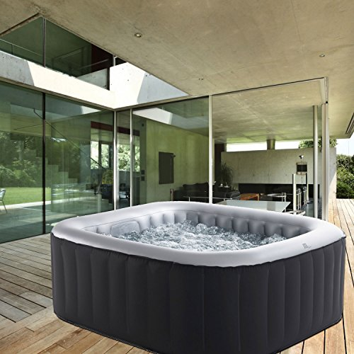 Whirlpool MSpa aufblasbar für 4 Personen 158x158cm In-Outdoor Pool 108 Massagedüsen Timer Heizung Aufblasfunktion per Knopfdruck Bubble Spa Wellness...