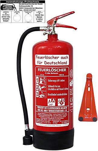 6 L Schaum Feuerlöscher Brandklasse AB DIN EN 3 + GS, Manometer, Wandhalter,...