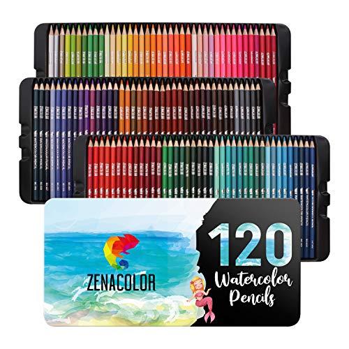120 Aquarellstifte Zenacolor, Nummeriert - Set mit wasservermalbaren Buntstiften...