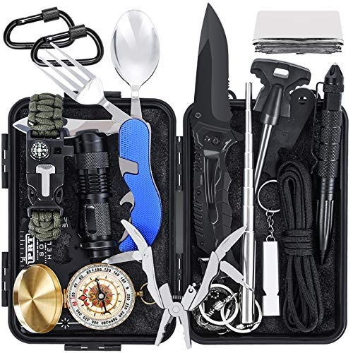 Tolaccea Survival Gear 17 in 1 Camping Survival Kits Professionelle Taktische...