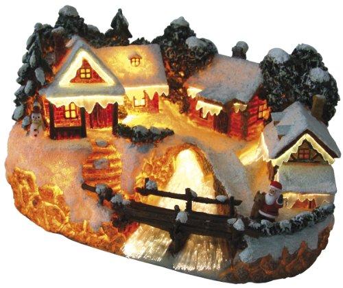 Beleuchtetes Weihnachtsdorf mit Brücke Fiberoptik  Weihnachtshaus und Weihnachtsmann