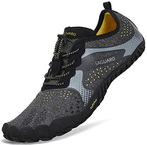 Sommer Barfußschuhe Herren Trail Laufschuhe Damen Indoor Outdoor Sport Fitnessschuhe Leicht Zehen Wander Trekking Schuhe für Frauen Männer Schwarz...