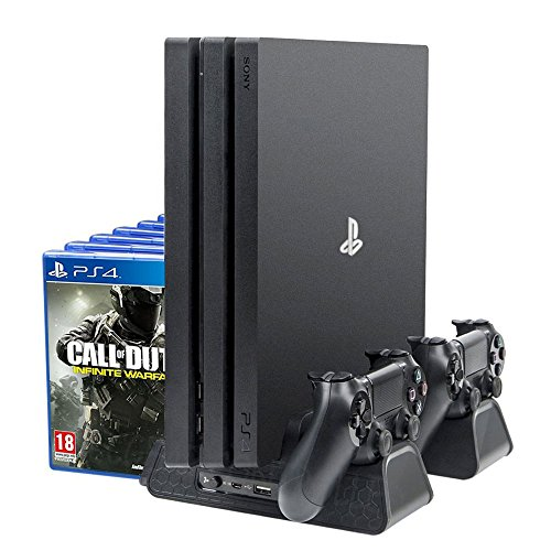 PlayStation Vertikaler Ständer Ladestation, Standfuß Lüfter Kühler Cooling, Dual Charger Ladegerät Docking Station, USB Hub, Blu-Ray Games...