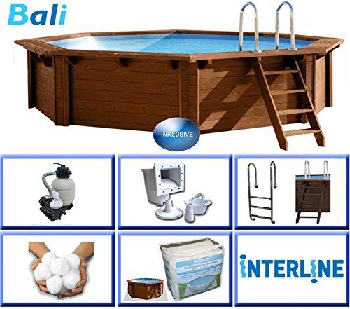 Interline 50700208 Bali Auf-und Erdeinbau Holzwand Rund Pool 4,40m x 1,16m, Filteranlage mit Filterbällen 6m³/h