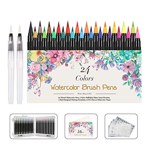 WOTEK Pinselstifte Set Brush Pen 48er,Aquarellstifte 24 Fabren+ 2 Einem...