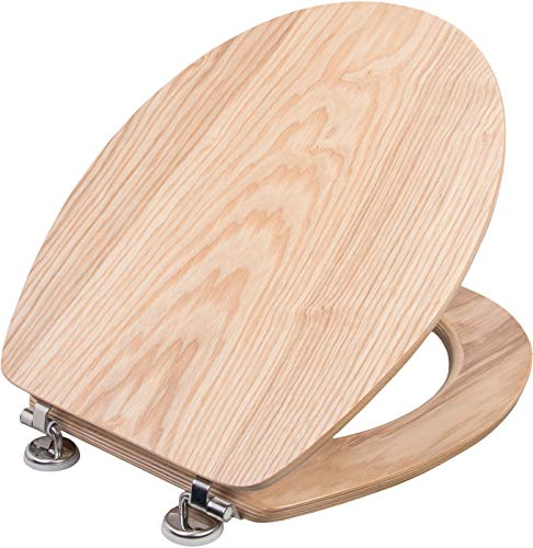 Wirquin 20719732 Casual Line Natural Bamboo Toilet Seat//Lid