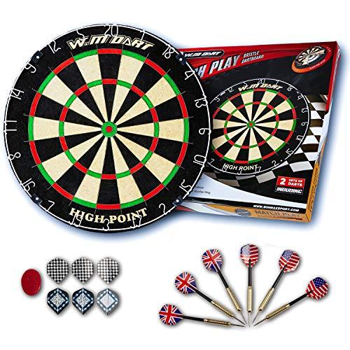 Steeldart Set Dartboard Winmau Blade 5+Cabinet+2 Set Roleo Darts