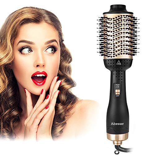 Aibesser Haartrockner, 5 In 1 Upgrade Multifunktions Warmluftbürste Hair Dryer & Volumizer Heißluftbürste Negativer Lonic Föhnbürste...