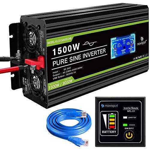novopal® Spannungswandler24V auf 230V 1500W/3000W Reiner Sinus Wechselrichter...