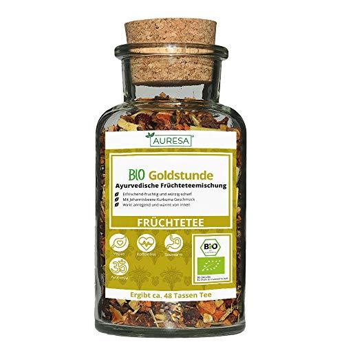AURESA Bio Goldstunde Tee im Glas | Würziger Früchtetee - 100g |...