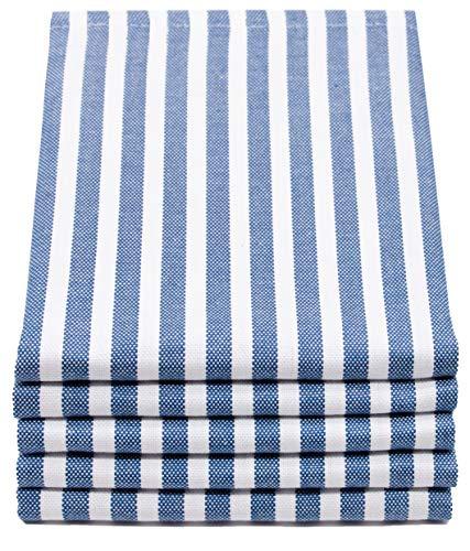 ZOLLNER 5er Set Geschirrtücher gestreift, 50x70 cm, blau weiß gestreift