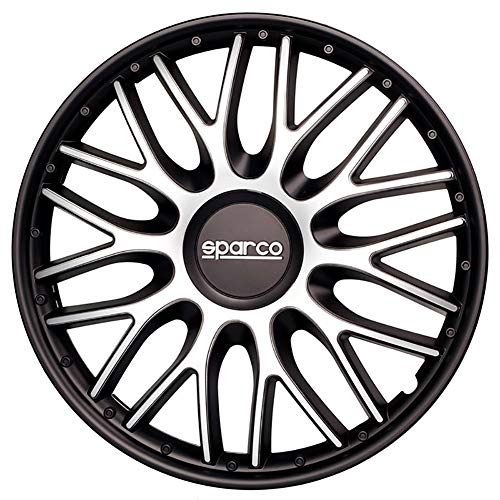 SPARCO SPC1696SVBK Hubcaps Roma Bi-Colour Silver//Black 16 Inches Set of 4,