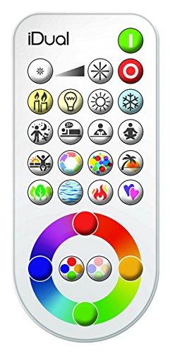 iDual-Fernbedienung für iDual-LED-Beleuchtungssysteme. Warmweiß bis Kaltweiß; Dimmfunktionen; Multicolor-Umgebungs- und Stimmungslicht.