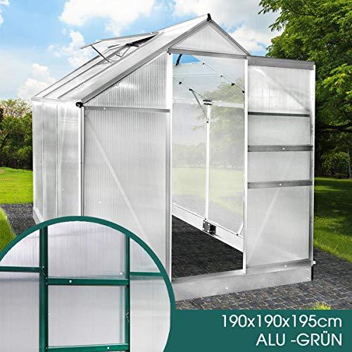 BRAST Gewächshaus Aluminium mit Fundament rostfrei 190x190x195 Grün 4mm...