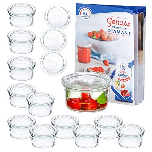 MamboCat 12er Set WECK-Sturzgläser 165 ml + 12 Glas-Deckel RR80 + Rezeptheft | Pasteteten-Gläschen Klar | Ø 88 mm | Einmachen, Einkochen &...