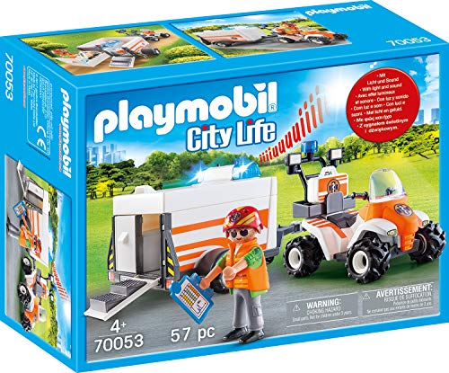 PLAYMOBIL 70053 City Life Quad mit Rettungsanhänger,...