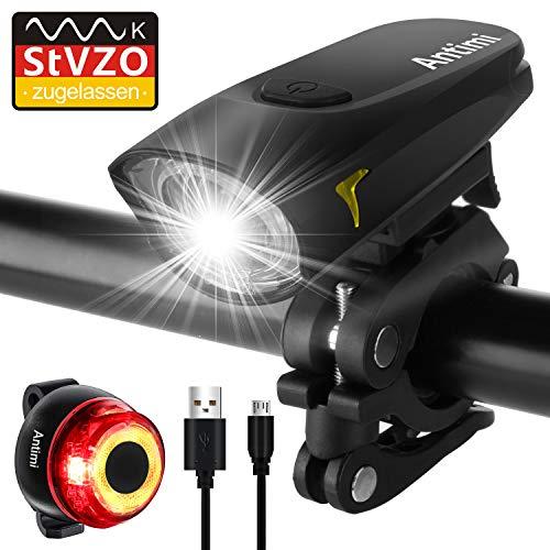 Antimi Sport Fahrradbeleuchtung LED Set, StVZO USB Wiederaufladbare Fahrradlicht Set 2 Leuchtmodi, wasserdichte Fahrradlampe Fahrrad Licht Set...