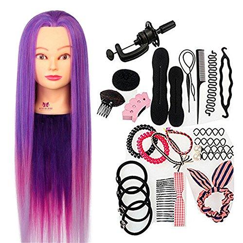 Neverland Practice Hairdressing Training Heads Echthaar Friseurkopf Practice Training Head Synthetic Hair 64 cm Verträ Umtes Purple Hair Styling...