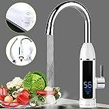 3KW Elektrische Wasserhahn Schnellheizungshahn Küche Bad Armatur Durchlauferhitzer mit digitale Wassertemperaturanzeige 360° Drehbar