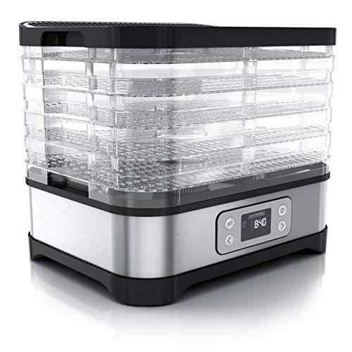Arendo - Dörrautomat mit Temperaturregler - Edelstahl Dörrgerät für Lebensmittel Fleisch Früchte Gemüse - 260 W - mit Timer bis zu 72 h - 35-70...