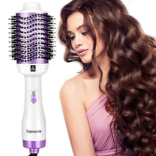 Damenie Ionen-Haartrockner,Upgrade 5 in 1 Stylingbürste Hair Dry und Volumizer Styler Negativer Lonic Föhnbürste Haarglätter Flauschiger Kamm...