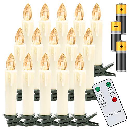 Hengda 20Stk LED Weihnachtskerzen, Warmweiß Christbaumkerzen Kabellos, mit...