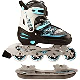 Nijdam 2in1 Semi Softboot Kids Inline Skates Roller Skates Ice Skates, Multicolored ...
