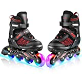 Caroma inline skates adjustable for adults, inline skates with 8 all illuminated led wheels, ...