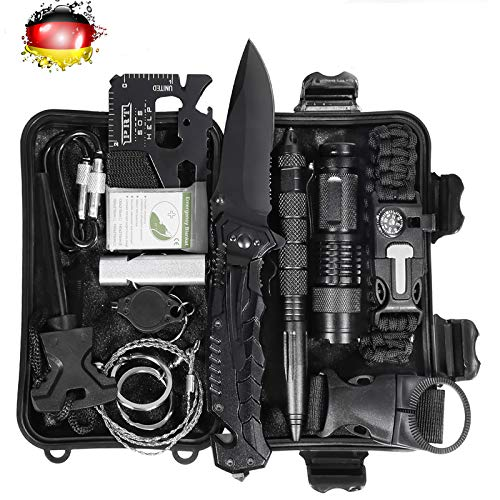 LC-dolida Survival Kit 15 in 1, Außen Notfall Survival Kit mit Messer/Taktische...