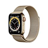 New Apple Watch Series 6 (GPS + Cellular, 40 mm) stainless steel case gold, Milanese bracelet gold