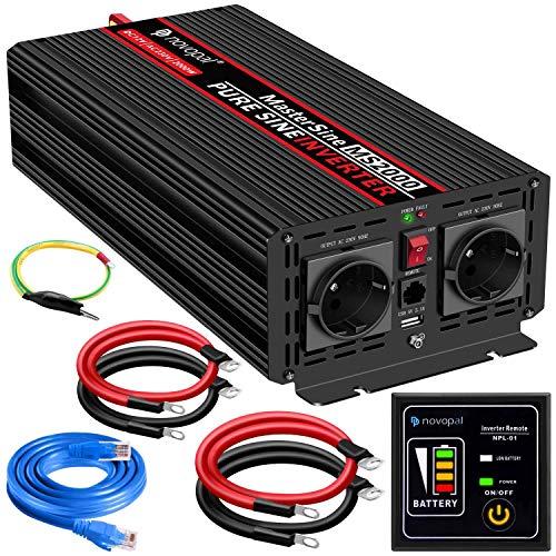 2000W KFZ Reiner Sinus Spannungswandler - Auto Wechselrichter 12v auf 230v Umwandler - Inverter Konverter mit 2 EU Steckdose und USB-Port - inkl. 5...