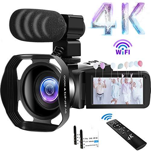 Camcorder 4K Videokamera 48MP WiFi Camcorder 18X Digital Zoom mit IR Night...