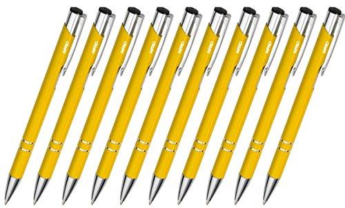 WPRO Kugelschreiber-Set Cosima 10-Stück aus Metall Großraum-Mine blau ergonomischer Griff