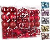 Brubaker 77-delt sett julekuler Juletrepynt - plast rød / sølv