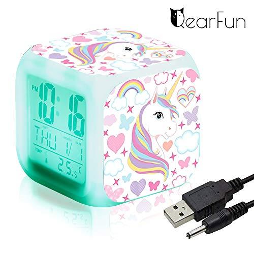 Einhorn Wecker Digital für Mädchen, Kinder Einhornwecker Beleuchteter LED Night Glowing LCD Uhr mit Licht Aufwachen Nachttischuhr...