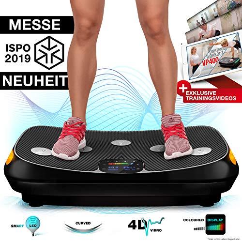 Messe-Neuheit 2019! 4D Vibrationsplatte VP400 im Curved Design + Trainings-Videos, Color Touch Display, Riesen Fläche, Smart LED Technologie +...
