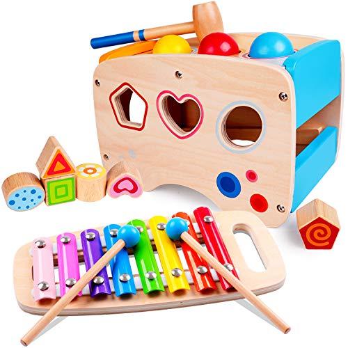 Rolimate Xylophon und Hammerspiel Spielzeug ab 1 Jahr, 3 in 1 Montessori Pädagogisches Vorschullernen Musikspielzeug Holzspielzeug Nachziehspielzeug...