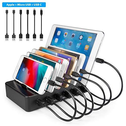 TechDot Handy USB Ladestation Ladestation Mehrere Geräte 6 Port USB Multi Ladestation für Handys Smartphones Tablets (mit 6 Kurze Kabel, Schwarz)