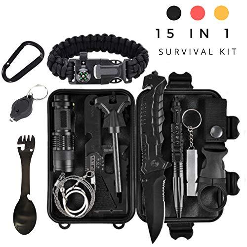 Military Survival Kit – Taktische Verteidigung der dritten Generation – 15 in 1-Notfallausrüstung – Tool Kit – Travel Camping Scout –...