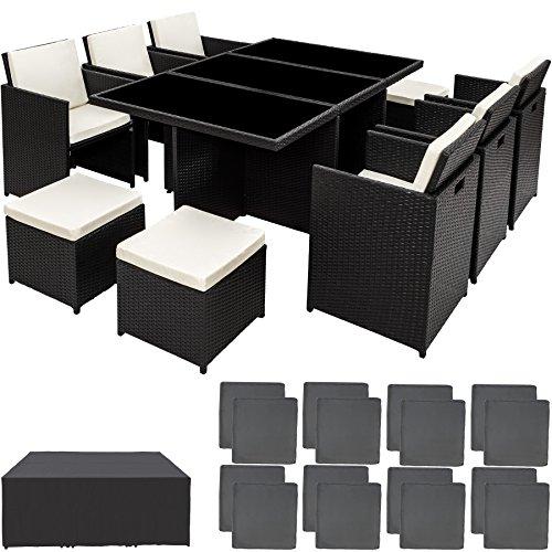 TecTake Poly Rattan Aluminium Gartengarnitur Sitzgruppe 6+1+4,...