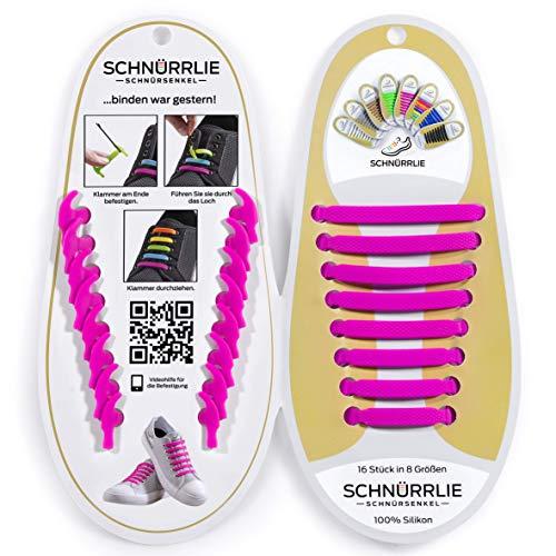 SCHNÜRRLIE elastische Silikon Schnürsenkel ohne Binden für Kinder & Erwachsene, 16 Stück in 8 Größen, Farbe Pink