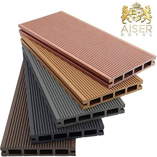 AISER Royal WPC Terrassen-Dielen 2-50 m² [Größenauswahl] Steingrau/Anthrazit/Coffee/Zeder [Farbauswahl] Boden-Dielen Komplettset inkl....