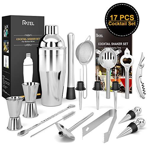 17 Stück Cocktail Set + 1 Cocktailbuch, RATEL Edelstahl Cocktail Mixing Shaker Set, Professionelles Barzubehör Werkzeug Party Essential...