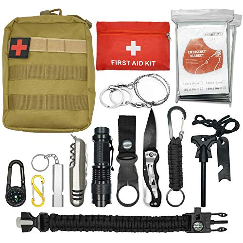 Abida Survival Kit, 15 in 1 Outdoor Emergency Survival Kit mit Survival-Decke,...