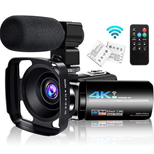 4K Videokamera Camcorder mit Mikrofon, WiFi IR Nachtsicht, Vlogging Kamera für...