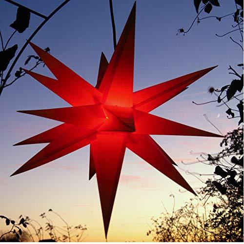 Außenstern rot - beleuchteter Stern ca. 55 cm Weihnachtsstern Leuchtstern...