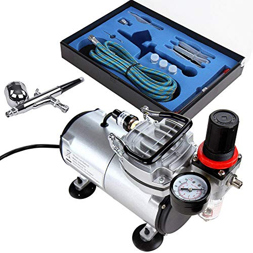 Timbertech Airbrush-Set mit Kompressor, Double Action...