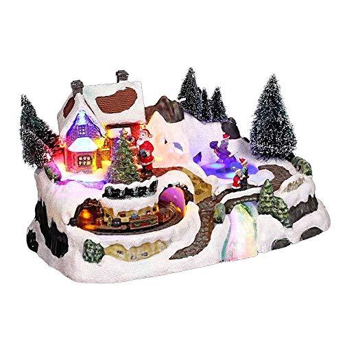 Weihnachtsdekoration, Motiv: Weihnachtsdorf mit Zug, beleuchtet