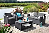 Koll Living Lounge Set Corsica in anthracite, including seat pads & back cushions, durable & weatherproof plastic in rattan look, 2 armchairs + 1 ...