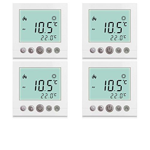 4x Excelvan® Thermostat Heizung Raumthermostat Programmierbar heizkörperthermostat Wandthermostat Smart Digital Heizungsthermostat für elektrische...